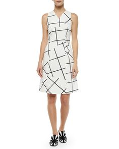 Jigsaw Windowpane-Print Fit-And-Flare Dress