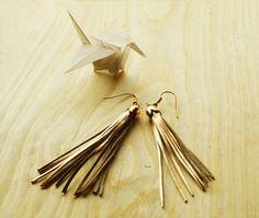 Gold fringe tassel earrings