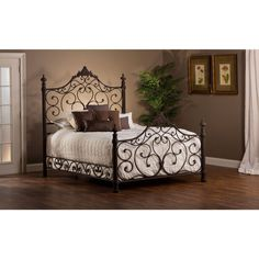 Hillsdale Baremore Antique Brown Bed Set ($769) ❤ liked on Polyvore featuring home, furniture, beds, brown, king head board, king post bed, queen metal beds, king size metal bed and post bed