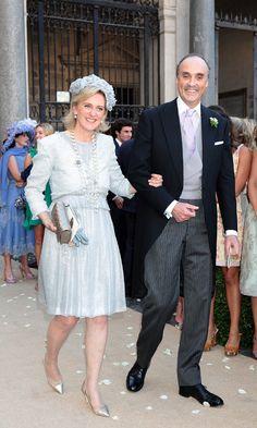 La Familia Real de los belgas se reúne en el enlace del príncipe Amadeo y Lili Rosboch.  Los padres del novio, los príncipes Astrid y Lorenzo © Getty Images