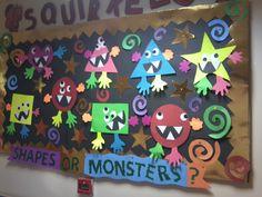 We practised shapes with my 3 year olds.They loved this monster craft and the bulletin board ı made with their works. Çocuklarla şekilleri çalıştık..Bu çalışmayı ve hazırladığım panoyu çok sevdiler:)