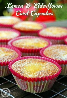 Lemon & Elderflower Curd Cupcakes are light and delicious. With Lemon & Elderflower Curd puddles in each these cupcakes are the perfect summer treat!
