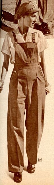 """Wards offered a nice line of women's workwear featuring a """"Victory Volunteers"""" emblem. These bib-top overalls were described as """"a sensible choice for your wartime job."""" Pshhh- I wish I looked this good in overalls! 1940s Fashion, Vintage Fashion, Fashion Top, Rosie The Riveter, Working Woman, Dieselpunk, Fashion History, Wwii, Victorious"""