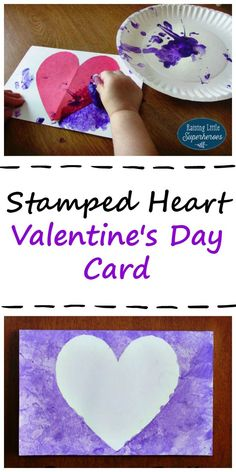 Valentine's Day is the perfect time for kids to create special crafts for kids and handmade greeting cards for their family and friends.  This Stamped Heart Valentine's Day Card is easy for children to create and a thoughtful gift that your loved ones will cherish.