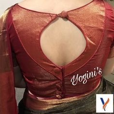 Saree blouse with keyhole pattern. Best Blouse Designs, Simple Blouse Designs, Stylish Blouse Design, Kerala Saree Blouse Designs, Saree Blouse Neck Designs, Designer Blouse Patterns, Designer Dresses, Blouse Models, Sarees