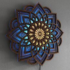 Mandala Night Light wall art lamp dimmer and remote control Wooden Wall Decor, Wooden Walls, Metal Walls, Wall Wood, Mandala Mural, Gravure Laser, Light Wall Art, Yoga Gifts, 3d Prints