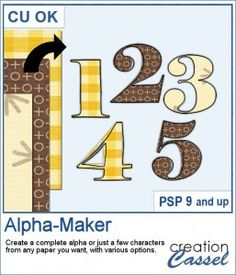 Creating alpha to accompany a kit or simply to write a title might either yield boring identical patterns for each letter or very tedious if you want to add variety to the individual characters.  This script will help you create as many characters (for a simple title or a complete alphabet) using any number of papers you want.  Compatible with PSP9 and up. Graphic Projects, Psp, Script, Alphabet, Characters, Scrapbook, Number, Lettering, Tools