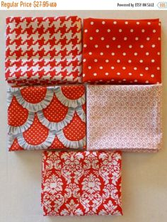 Clearance SALE Cotton Fabric~1 and 1/2 Yard Piece~Modern,Quilt ... : red quilts clearance sale - Adamdwight.com