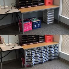 """Last year I made these curtains for a few tables in my classroom and it made a huge difference! Easy way to cover up storage and gives the room a much cleaner look. I used witch stitch to """"sew"""" and it is hanging on a simple tension rod! Classroom Setting, Classroom Setup, Classroom Design, Kindergarten Classroom, School Classroom, Classroom Organization, Future Classroom, Classroom Hacks, Spanish Classroom"""