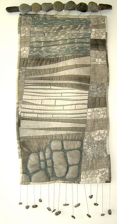 "Quilt art, with natural elements, by Deborah O'Hare @ the blue hare: ""old stuff 069""  2009."