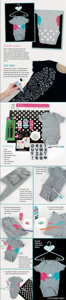 Show your little one some onsie-love with colorful shapes and stencils!
