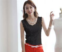 57b1a4953df Summer Women Blouse Lace Vintage Sleeveless White Black Crochet Casual  Shirts Tops Slim