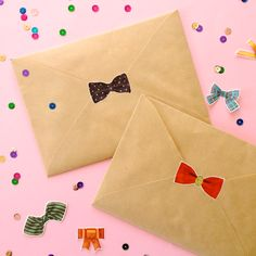 Omiyage Blogs: Send Pretty Mail #46/47 - Confetti Mail - #washitape bow stickers