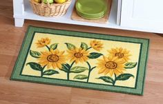 Collections Etc Sunflower Floral Woven Accent Rug Collect. Mexican Kitchen Decor, Kitchen Themes, Farmhouse Kitchen Decor, Kitchen Ideas, Kitchen Stuff, Apartment Therapy, Sunflower Themed Kitchen, Turquoise Kitchen Decor, Country Interior Design