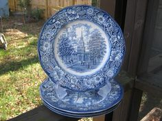 Liberty Blue Staffordshire Ironstone Made In England, Independence Hall Plate, Oringinal Copper Engr