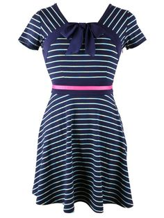 blue on blue fitted striped dress