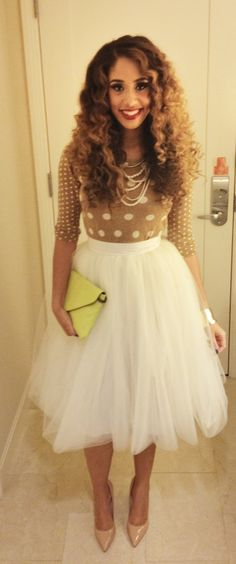 tan polka dot sweater, white tulle skirt, nude shoes