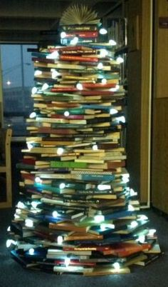 Christmas tree made of books! Constructed over the holidays by our staff.