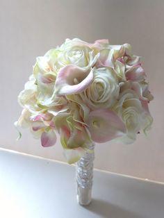 Blush Pink Calla Lily & Hydrangeabouquet, Bridal Bouquet, wedding bouquet by LoveMimosaFleur on Etsy https://www.etsy.com/listing/185352113/blush-pink-calla-lily-hydrangeabouquet