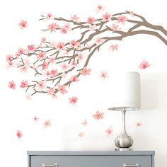 Kirkland's- Kirkland's Pink Cherry Blossom Tree Wall Decal Cherry Blossom Nursery, Pink Cherry Blossom Tree, Cherry Blossom Painting, Blossom Trees, Japanese Cherry Blossoms, Cherry Tree, Tree Wall Painting, Tree Wall Art, Tree Paintings