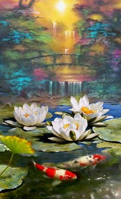 "Pond  - PALETTE KNIFE Oil Painting On Canvas By Dmitry Spiros. Size: 24""x32"" #Impressionism  #Art #Flowers #Fish #River #Paintings #FineArt"