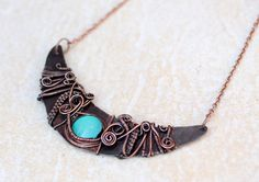 Turquoise wire necklace Boho Copper wire by AfroditaFashion
