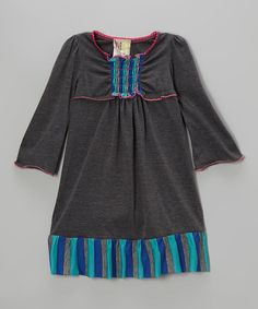 Take a look at this Gray & Blue Stipe Dress - Toddler & Girls on zulily today!