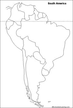 """outline map South America.Repinned by Elizabeth VanBuskirk on """"Inca Teaching."""" Handy way for kids to learn the geography of South America. Just color in the countries?"""