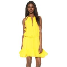 Alexis Monic Dress ($275) ❤ liked on Polyvore featuring dresses, yellow, flutter-sleeve dress, yellow dress, lining dress, lined dress and strap dress
