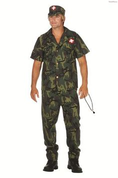 Military Doctor Mens Halloween Costume Large XL Camo Fatigues Camouflage Army | eBay