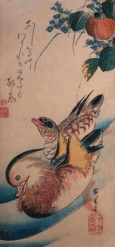 """MIZUAOI-NI-OSHIDORI"" Mallows and Mandarin Ducks / Around 1832~35 by Utagawa Hiroshige"