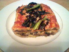 polenta lasagne chilled polenta in a half sheet and cut it into broad ...