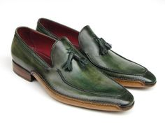 Paul Parkman Men's Side Handsewn Tassel Loafer Green Shoes