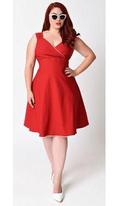 Steady Plus Size 1950s Red Diva Stretch Swing Dress