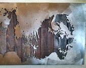 American Bison Metal Art - Reclaimed Wood and Aged Steel - 26x45 - by Legendary Fine Art