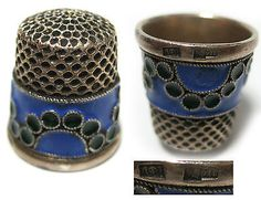 Antique-Thimble-Sterling-Silver-stamp-Head-916-Enamel-Russian