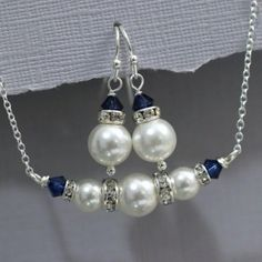 Weddbook is a content discovery engine mostly specialized on wedding concept. You can collect images, videos or articles you discovered organize them, add your own ideas to your collections and share with other people | Bridesmaid Gift, Swarovski White Pearl and Dark Sapphire (Navy) Necklace and Earring Set, Bridesmaid Jewelry OTHER BRIDESMAID JEWELRY IN THE
