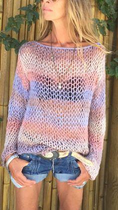 looseknit lightweight knit Women's sweater pink lilac