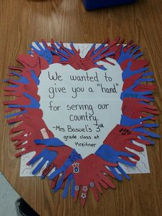 In honor of Veteran's Day, my class made this huge thank you note for our local American Legion.                                                                                                                                                                                 More