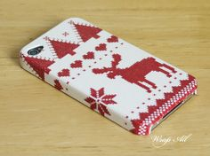 Christmas Red Cross Stitch Reindeer Pattern iPhone 6 case / iPhone 6 Plus case / iPhone 4 case / iPhone 4S case by WrapAll on Etsy https://www.etsy.com/listing/111378550/christmas-red-cross-stitch-reindeer