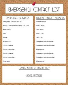 emergency phone numbers list template
