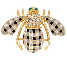 #Hive. You'll bee trending with this Joan Rivers gingham bee pin. Gingham is one of the on-trend looks this season, and this design enhances that look with clear crystals and goldtone flair. From the Joan Rivers Classics Collection(R).<br><br>Pink/White or Black/White. QVC.com