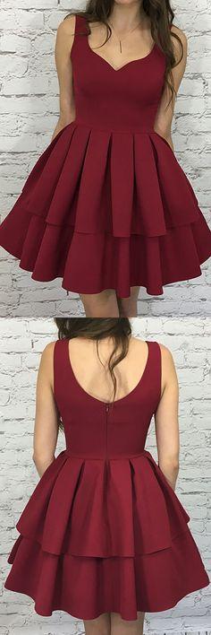 A-Line Scoop Short Burgundy Tiered Elastic Satin Homecoming Dress PG193 #homecomingdress #burgundy #aline #partydress #pgmdress #shortprom #shortevening #graduationdress #fashion