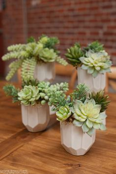 Create the perfect, modern boho centerpieces with succulents from Afloral.com.  Faux succulents look and feel real, are affordable, and will look great forever.  Afloral.com has everything you need for your DIY wedding. Designer: Botanica Events Photographer: Kim J Martin Venue: Beatnik Studios