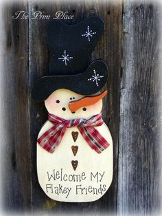Snowman Wall Hanging Door Hanger by theprimplace on Etsy