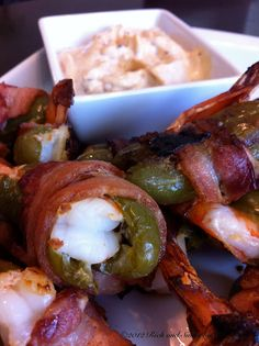 Cowboy Kisses with Chipotle Dipping Sauce Bacon wrapped Shrimp Jalapeno Poppers.def trying these! Finger Food Appetizers, Finger Foods, Appetizer Recipes, Paleo Appetizers, Appetizer Ideas, Dinner Recipes, I Love Food, Good Food, Yummy Food