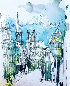 Landscape Sketch, Urban Landscape, Watercolor Landscape, Watercolour, Architecture Sketchbook, Art Sketchbook, Ink Pen Drawings, Love Drawings, Interesting Drawings