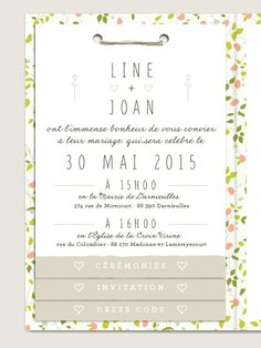Faire-part de mariage livret Ipomée, format double avec texte ou photo et 2 ou 3 feuillets intérieurs au choix . www.Dioton.fr
