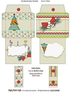 Printable digital Tea Bag Packet Wrapper Envelope Topper, Bright Tree, Bells, Christmas Holiday down Christmas Baskets, Christmas Holidays, Christmas Crafts, Xmas, Christmas Envelopes, Christmas Sheets, Navidad Diy, Scrapbooking, Christmas Printables