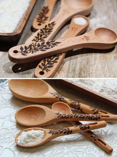 The cutest set of wood-burned measuring spoons. Each spoon is wood-burned with the design of your choice. You'll love to bake with these custom measuring spoons.